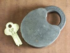Rare Antique Climax Push Key Padlock and Key