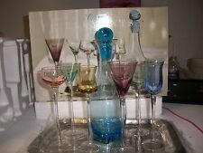 Classic Elements 7 piece colorful wine glass set with decanter
