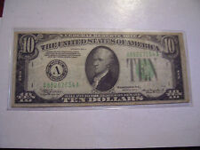 1934 A TEN DOLLAR US FEDERAL RESERVE NOTE BOSTON SERIAL # A 88267654 A