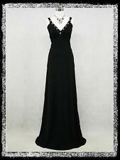 dress190 Black Grecian Crossover Prom Ball Evening Wedding Party Dress UK 18-20