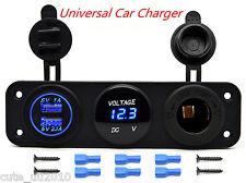 Car Boat Multi Function Panel  Dual USB Charger Voltmeter 12V Cigarette Lighter