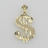 14K Solid Real Yellow Gold Dollar $ Sign Filigree Diamond Cut Charm Pendant