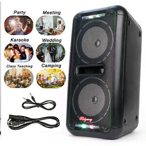 "Dual 6.5"" Subwoofer Portable Party Loud Speaker Wireless Heavy Bass AUX LED FM"