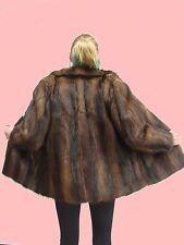 WOMEN L XL Real MUSKRAT Fur Coat Jacket LADIES DR4736