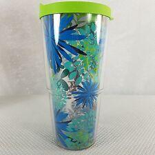 New Tervis Travel Mug Tumbler 24 Oz Green Blue Flowers USA Made