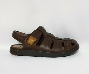 CLARKS UNSTRUCTURED UNWILMORE BAY BROWN LEATHER SANDALS UK 10 MENS RRP £70