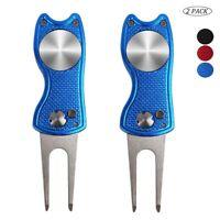 Foldable Golf Divot Repair Tool Switchblade with Ball Marker Pop-up Button 2 Pcs