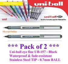 2 x UNI BALL UB-157 EYE FINE ROLLERBALL PEN BLACK COLOUR 0.7mmBALL - Top Selling