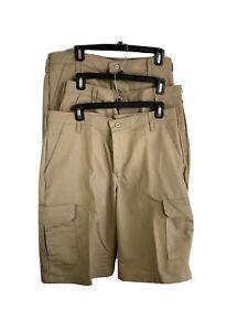 Red Kap Mens Work Shorts 34 x 12 Beige Khaki Cargo Bundle of 3 Style PT66KHO