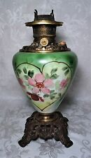Antique 19th C. Victorian Green Floral Heart GWTW Oil Banquet Lamp Ornate Base