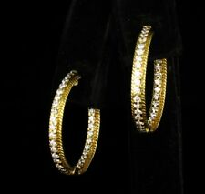 L&P SIGNED NATURAL 3/4ctw DIAMOND 18K YELLOW GOLD 24MM INSIDE OUT HOOP EARRINGS