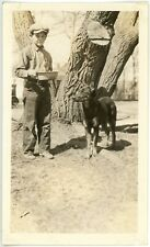 1927 Photo Montana Livingston Teen Boy Feeding Doberman Pinscher Dog McDonald