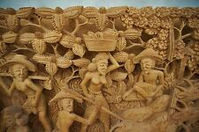 "Huge Bali Hand Carved Wooden Wall Hanging Decor Intricate Village Scene 38""X9.75"