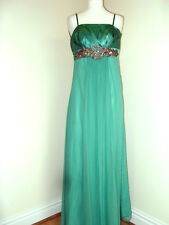 Ladies Monsoon Green Silk long Evening Gown or bridesmaid Dress Size 8