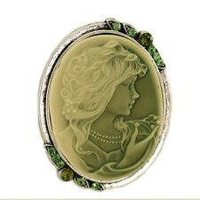 Olive Green CAMEO Brooch Pin Pendant Costume Jewelry
