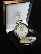 RUGBY PLAYER ENGLISH PEWTER FACED POLISHED POCKET FOB WATCH & CHAIN & BOX