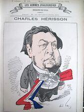 CHARLES HERISSON MINISTRE TP COMMERCE CARICATURE GILL HOMMES D'AUJOURD'HUI 1878