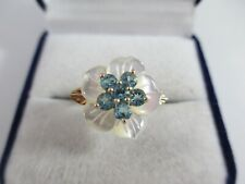 STUNNING & UNUSUAL PRE-OWNED 9ct GOLD TOPAZ & M.O.P. FLOWER RING UK SIZE P  3.7g