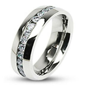Stainless Steel Eternity Clear Gem CZ Stones Classic Wedding Band Ring R125C