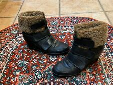 ASH BRIZZ BLACK LEATHER BROWN SHEARLING FUR CUFF ANKLE BOOTS WEDGE  36 6 M NEW