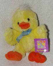 "Yellow & Orange Plush Duck Soft Stuffed Toy Blue Ribbon Bow Main Joy Limited 8"""