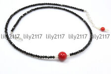 Natural 3mm Faceted Black Spinel & 10mm Red Coral Round Gems Necklace 14-16'' AA