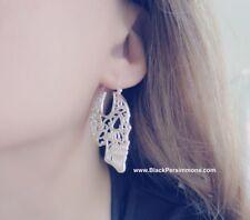 Day of the Dead Sugar Skull Tribal Filigree Hoop Earrings - Silver Plated Brass