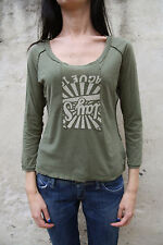 Genuine REPLAY LADIES GREEN LONG SLEEVE COTTON T SHIRT TOP CASUALS Uk 12 M
