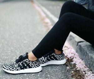 NEW Womens Adidas Swift Run Athletic Shoe Cheetah Leopard Carbon White Black-9.5