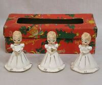 Vintage Christmas Set of Three Lady Bells in OB Girls Hold Candle Bell Book Made