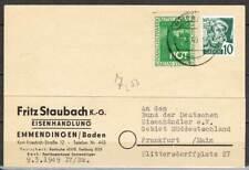 FZ Baden: MiNr. 33 EF, auf Postkarte mit Vignette Rotes Kreuz 1949 [5336]