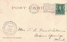 "1906 Cedar Springs, Michigan ""Rec'd."" Cancel on a Waldorf Astoria, NY Postcard ~"