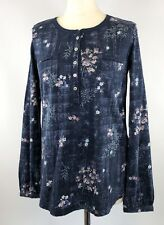 New Ex Monsoon Dark Blue Floral Leaf Print Jersey Top RRP £45 Now £16 Save £29
