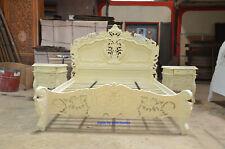 UK King size 5' Mahogany CREAM  finish colour French style Rococo bed