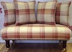 Footstool Stool Plus 4 Cushions Laura Ashley Brodie Raspberry Fabric