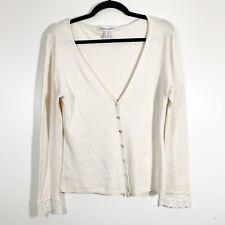 Maria di Ripabianca Size 12 Womens Cream Silk Blend Lace Cuff V-Neck Cardigan