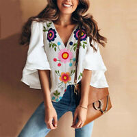 Women Summer Bell Sleeve Top T Shirt Floral Print Casual Loose Ladies Tee Blouse