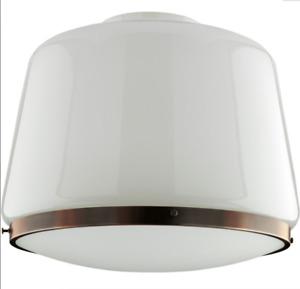 "Rejuvenation Home Lighting Large 16"" Schoolhouse Opal Drum Hanging Shade Copper"