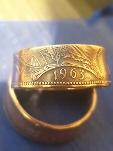 One Penny Coin Ring 1963 Size V 1/2