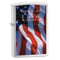 Zippo Windproof Lighter Classic Made in USA Flag Brushed Chrome (24797)
