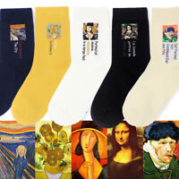 Modern Renaissance Winter Oil Painting Van Gogh Sunflower Mona Lisa Art Socks