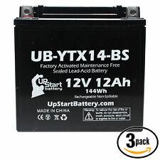 3x Battery for 2003 - 2012 Honda VTX1300C, R, S, Retro 1300 CC