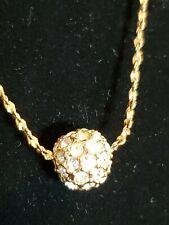 Necklace Goldtone Stamped Lr Crystal Rhinestone Spinning Ball