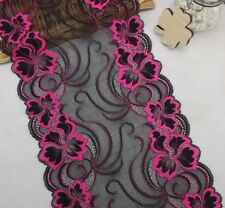 Hot Red Black Stretch Lace Trim Elastic Lace Fabric Garment Sewing Trimmings 9''