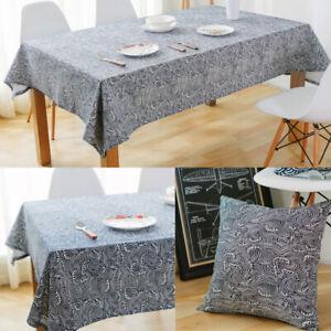 Boho Tablecloth Cotton Linen Table Cloth Cover Rectangle Kitchen Desk Home Decor