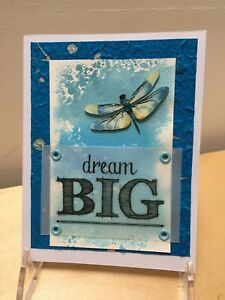 'Dream Big' Dragonfly: handmade greeting card