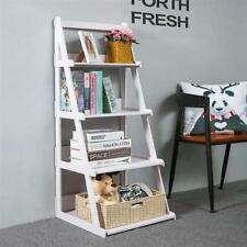 4-Tier Leaning Ladder Shelf Bookshelf Storage Display Bookcase Home Office Decor