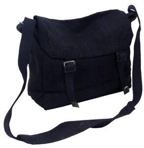 HAVERSACK Canvas BAG SHOULDER Strap BAG 50s STYLE Retro Vintage Look NEW Black