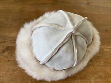 John Rocha beige faux suede hat with faux fur trim.