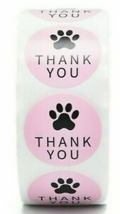 THANK YOU Stickers Labels Gift Food Craft Baby Shower Wedding  PAW PRINT PINK